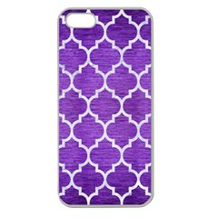 Tile1 White Marble & Purple Brushed Metal Apple Seamless Iphone 5 Case (clear)
