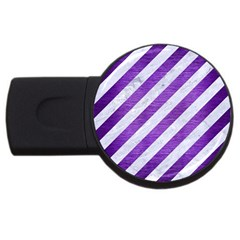 Stripes3 White Marble & Purple Brushed Metal (r) Usb Flash Drive Round (2 Gb)
