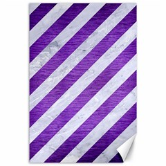 Stripes3 White Marble & Purple Brushed Metal (r) Canvas 24  X 36