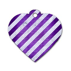 Stripes3 White Marble & Purple Brushed Metal (r) Dog Tag Heart (two Sides)