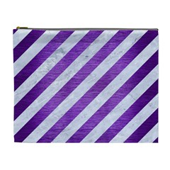 Stripes3 White Marble & Purple Brushed Metal (r) Cosmetic Bag (xl)