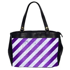 Stripes3 White Marble & Purple Brushed Metal (r) Office Handbags (2 Sides)