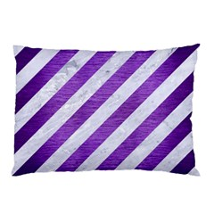 Stripes3 White Marble & Purple Brushed Metal (r) Pillow Case (two Sides)