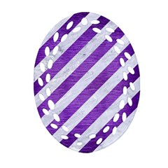 Stripes3 White Marble & Purple Brushed Metal (r) Oval Filigree Ornament (two Sides)
