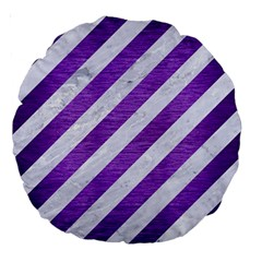 Stripes3 White Marble & Purple Brushed Metal (r) Large 18  Premium Round Cushions