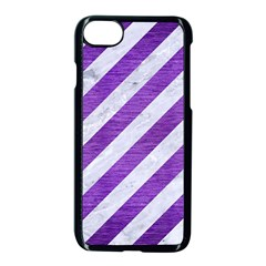 Stripes3 White Marble & Purple Brushed Metal (r) Apple Iphone 8 Seamless Case (black)