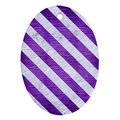 Stripes3 White Marble & Purple Brushed Metal Ornament (oval) by trendistuff