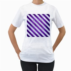 Stripes3 White Marble & Purple Brushed Metal Women s T Shirt (white) (two Sided)