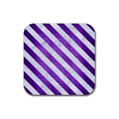 Stripes3 White Marble & Purple Brushed Metal Rubber Coaster (square)