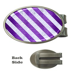 Stripes3 White Marble & Purple Brushed Metal Money Clips (oval)  by trendistuff