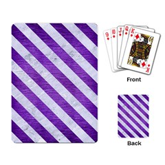 Stripes3 White Marble & Purple Brushed Metal Playing Card