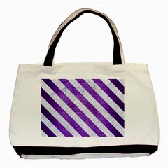 Stripes3 White Marble & Purple Brushed Metal Basic Tote Bag (two Sides)