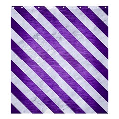 Stripes3 White Marble & Purple Brushed Metal Shower Curtain 66  X 72  (large)