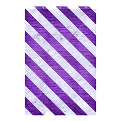 Stripes3 White Marble & Purple Brushed Metal Shower Curtain 48  X 72  (small)
