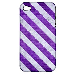 Stripes3 White Marble & Purple Brushed Metal Apple Iphone 4/4s Hardshell Case (pc+silicone)