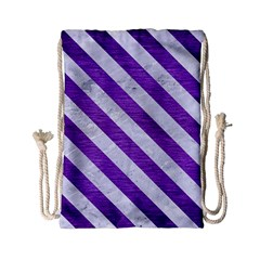Stripes3 White Marble & Purple Brushed Metal Drawstring Bag (small) by trendistuff