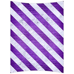 Stripes3 White Marble & Purple Brushed Metal Back Support Cushion