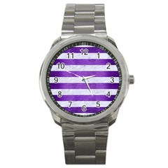 Stripes2white Marble & Purple Brushed Metal Sport Metal Watch