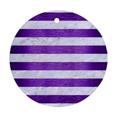 Stripes2white Marble & Purple Brushed Metal Round Ornament (two Sides) by trendistuff