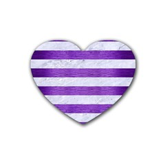 Stripes2white Marble & Purple Brushed Metal Heart Coaster (4 Pack)