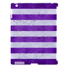 Stripes2white Marble & Purple Brushed Metal Apple Ipad 3/4 Hardshell Case (compatible With Smart Cover)
