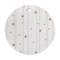 Background Salmon Pink White Motive Round Ornament (two Sides)