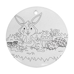 Coloring Picture Easter Easter Bunny Round Ornament (two Sides)