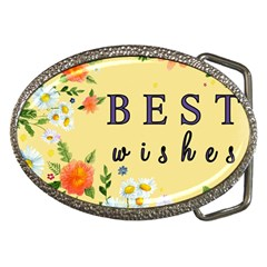 Best Wishes Yellow Flower Greeting Belt Buckles by Sapixe