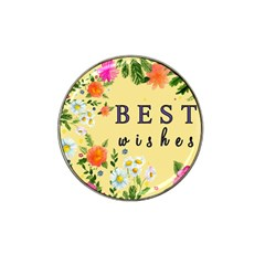 Best Wishes Yellow Flower Greeting Hat Clip Ball Marker (10 Pack)