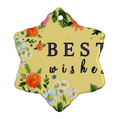 Best Wishes Yellow Flower Greeting Snowflake Ornament (two Sides)
