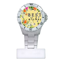 Best Wishes Yellow Flower Greeting Plastic Nurses Watch