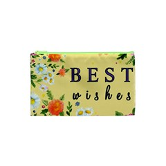 Best Wishes Yellow Flower Greeting Cosmetic Bag (xs)