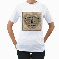 Motivational Calligraphy Grunge Women s T Shirt (white) (two Sided)