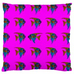 Opposite Way Fish Swimming Standard Flano Cushion Case (two Sides)