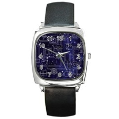Networks Internet Social Square Metal Watch