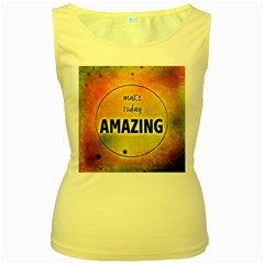 Beautiful Day Cheerful Munter Women s Yellow Tank Top