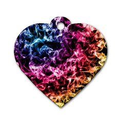 Smoke Colors Soul Black Blue Dog Tag Heart (two Sides) by Sapixe