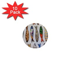 Fish Sardines Motive Pattern 1  Mini Buttons (10 Pack)
