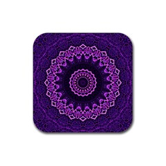 Mandala Purple Mandalas Balance Rubber Coaster (square)  by Sapixe