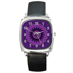 Mandala Purple Mandalas Balance Square Metal Watch by Sapixe
