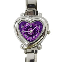 Mandala Purple Mandalas Balance Heart Italian Charm Watch by Sapixe