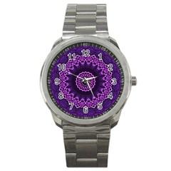 Mandala Purple Mandalas Balance Sport Metal Watch by Sapixe