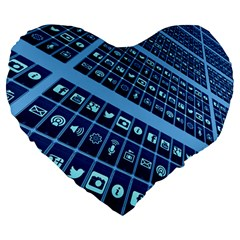 Mobile Phone Smartphone App Large 19  Premium Heart Shape Cushions by Sapixe