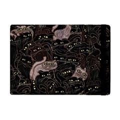 Cats On Black Seamless Pattern Apple Ipad Mini Flip Case by bloomingvinedesign