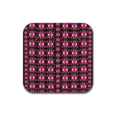 Butterflies In A Wonderful Forest Of Climbing Flowers Rubber Square Coaster (4 Pack)  by pepitasart