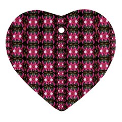 Butterflies In A Wonderful Forest Of Climbing Flowers Heart Ornament (two Sides)