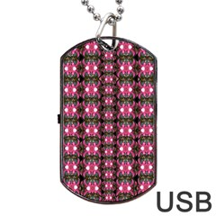 Butterflies In A Wonderful Forest Of Climbing Flowers Dog Tag Usb Flash (two Sides)