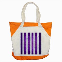 Stripes1 White Marble & Purple Brushed Metal Accent Tote Bag