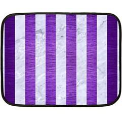 Stripes1 White Marble & Purple Brushed Metal Double Sided Fleece Blanket (mini)