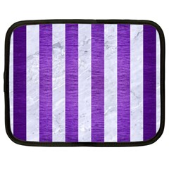 Stripes1 White Marble & Purple Brushed Metal Netbook Case (xl)  by trendistuff